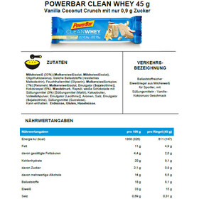 PowerBar Clean Whey Bar Box 18x45g, Vanilla Coconut Crunch